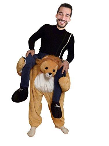 Ikumaal Carry-me Löwen-Kostüm, F101 Gr. M-L, Löwe-Faschingskostüm für Männer u. Frauen, Fasnachts- Faschings- Karnevals- Tier-Kostüme, Geburtstags-Geschenk, Huckepack-Kostüm