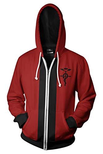 MUCLOTH Edward Elric Full-Zip Cosplay Costume Hoodies Sweatshirt Jacket Unisex (red, s)