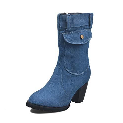 UMore Botas Mujer Botines de Vaquero Otoño Invierno Vintage Botines Mujer con Cordones Zapatos de Mujer Botas...