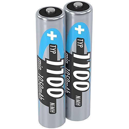 ANSMANN Akku AAA Micro Typ 1100mAh - 1,2V - Leistungsstarke NiMH AAA Akkus für Geräte mit hohem Stromverbrauch - wiederaufladbare Batterien AAA ideal für Blitzgerät Kamera & Fernbedienung - 2 Stück