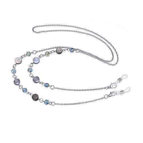 Eyeglass Chain Strap Holder Cord Fashion Eyewear Retainer Crimmy Reading Eyeglass Necklace (blue beads shell)