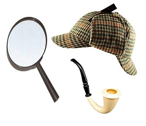 Sherlock Holmes Fancy Dress Zubehörset Deerstalker-hut + Lupe + Viktorianisch Look Röhrenartig Detektive Satz