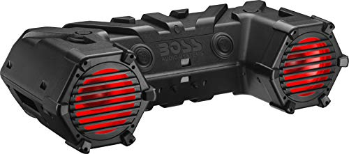 BOSS Audio Systems ATV95LRGB ATV UTV Weatherproof Sound System - 8 Inch Speakers, 1.5 Inch Tweeters, Amplified, Bluetooth Remote, LED Light Bar, Storage Compartment, Easy Installation for 12V Vehicles