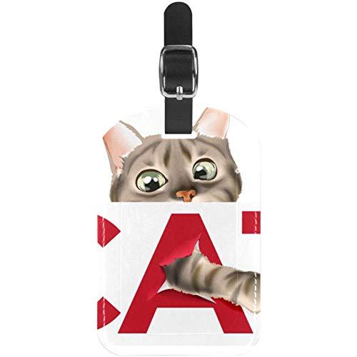 Etiquetas de equipaje de piel con gato travieso para maleta de viaje, 1 paquete