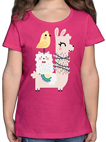 Tiermotive Kind - Tiere aufgereit - 140 (9/11 Jahre) - Fuchsia - Geschenk - F131K - Mädchen Kinder T-Shirt