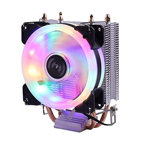 CPU Refrigerador Ventilador 3pin para Intel LGA 775 1150 1151 1155 1156 1366 AM2 AM3 AM4 Radiador de CPU silencioso Radiador Refrigerador (Blade Color : RGB Ring Lamp)