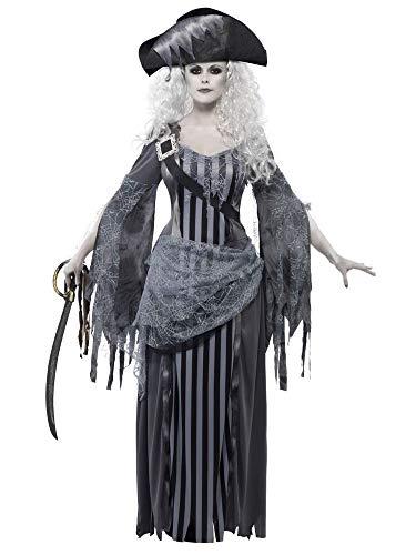 shoperama Piratin Geisterschiff Prinzessin Damen-Kostüm Kleid Hut Untote Piraten-Braut Geist Halloween Horror, Größe:M