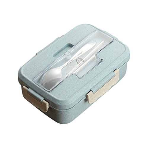 XINGYUE Caja de almuerzo Bento de paja de trigo y vajilla para microondas, contenedor de alimentos portátil, caja de almacenamiento de alimentos, a prueba de fugas con palillos y cuchara.