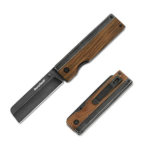 DURATECH ナイフ 折畳みナイフ フォールディングナイフ 直刃 木製ハンドル ストーンウォッシュ仕上げ ライナーロック クリップ付き アウトドア キャンプ アウトドア 薪割り