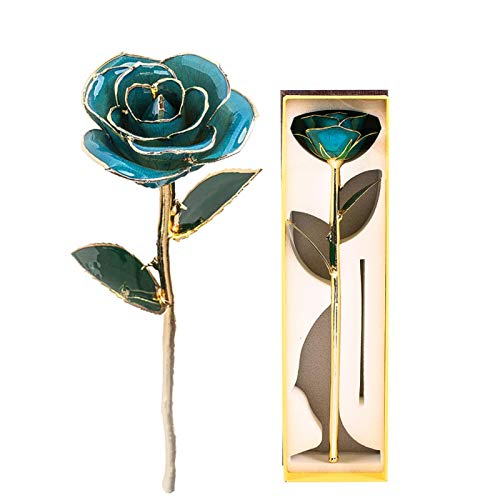 KUIDAMOS 24K Ewige vergoldete Rose, Ewige Rosenrose Romantische künstliche Goldfolie Rose Rote Rose Valentinstag Blumengeschenke für Sie