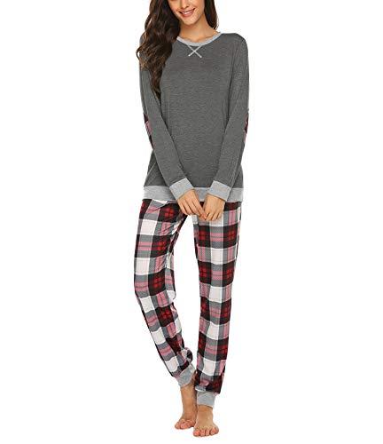 Schlafanzug Damen Lang Winter Pyjama Set Zweiteiliger Sleepwear Langarm Nachtwäsche Lang Hausanzug mit Karierte Hose Herbst Grau für Frauen S