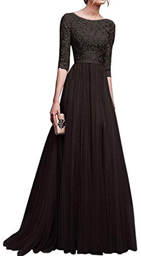 Blansdi Damen Spitze Kleid Tüll Lang Abendkleid Rundhals Mit Ärmeln Zurück Hohl Kleid Ballkleid Elegant Cocktailkleid Brautjungfernkleid Festkleid Hochzeitskleid