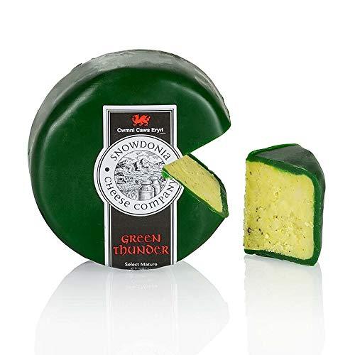 Snowdonia - Green Thunder, Cheddar Käse mit Knoblauch & Kräutern, grüner Wachs, 200g