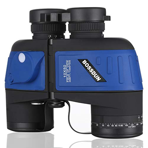 Marinos 10X50 Prismaticos,con Vision Nocturna Telémetro Brújula IPX7 100% Impermeable BAK4 Prisma Binoculares por Caza Marina, Pesca, Observación de Aves para Adultos Niños