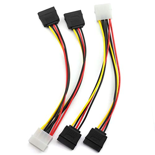 SDTC Tech 4 Pin Male IDE Molex to 15 Pin Female Dual SATA Power Splitter Adapter Cable 18AWG Copper Serial ATA Hard Drive Extension Cable (20cm) - 2 Pack
