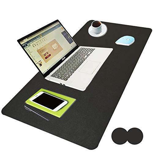 """WKX Dual Sided Desk Pad,Office Desk Mat, Leather Desk Blotter, Laptop Desk Mat, Computers Mouse Pad, Waterproof Writing Pad for Office and Home(31.5"""" x 15.7"""") Two-Color (Black Black)"""