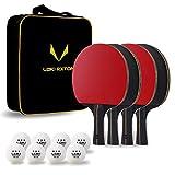 LOKI RXTON Ping Pong Paddles Set, 4-Player Table Tennis Rackets with 8 3-Star Balls,...