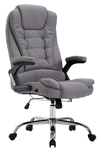 CLP XXL Chefsessel Thor mit Stoffbezug, max. belastbar bis 150 kg, Bürostuhl mit Armlehnen, höhenverstellbar, Drehstuhl mit dickem Polster, Farbe:grau
