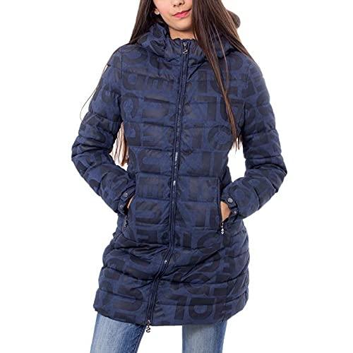 Desigual Coat Letras Manteau, Bleu (Navy 5000), 46 (Taille Fabricant: 44) Femme