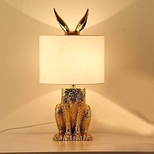 FAGavin Lámpara de mesa de noche escandinava creativa para dormitorio, sala de estar, hotel, proyecto decorativo, lámpara de conejo, 24 x 49 cm
