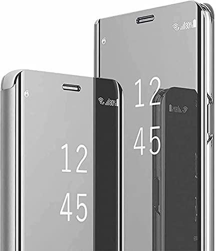 Ttianfa Funda para Samsung J7 Prime Funda Espejo Flip Tipo Libro,Hora Ver Inteligente Fecha Soporte Plegabl Protector Pantalla PU Caso Duro 360 a Prueba de choques Funda con Samsung J7 Prime,Plata