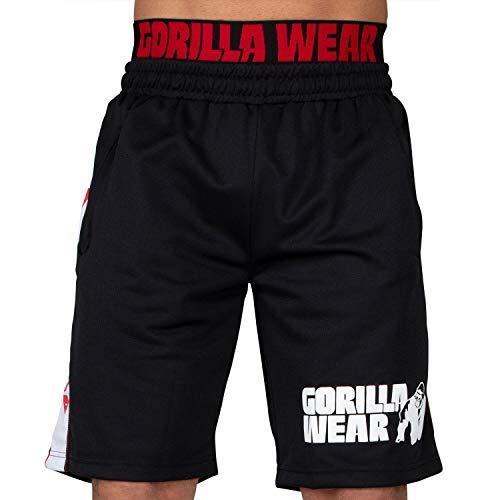 GORILLA WEAR Bodybuilding Hose Kurz Herren - California Mesh Shorts - Trainingshose Männer Schwarz/Rot S/M