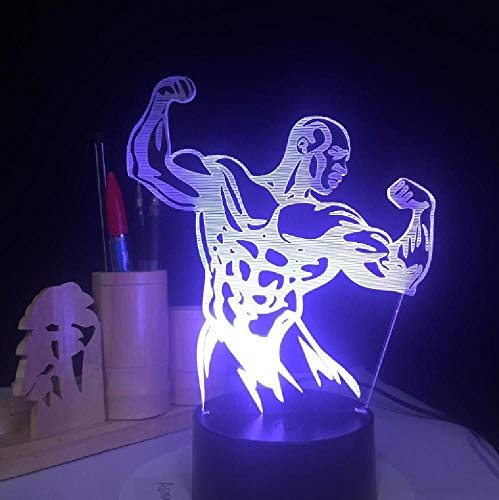 Body Building Cool Man Novelty 3D Night Lights Led Table Lamp Colorful Changing USB Desk Light for Gym Decoration