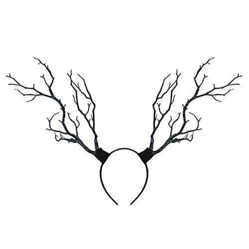 Qinlee Geweih Stirnband mit Baum für Damen Herren Rentier Geweih Stirnband Schmetterling Kopfschmuck Halloween Kostüme Halloween Party Decor Foto Prop(Blau)