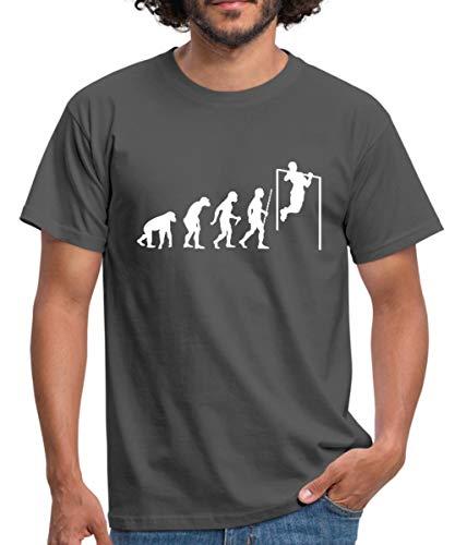 Evolution Pull Up (Klimmzug) Männer T-Shirt, M, Graphite
