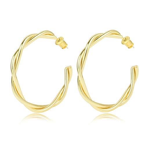 Pendientes de aro gruesos dorados de plata de ley 925 para mujer., Oro de 14 quilates., No.,