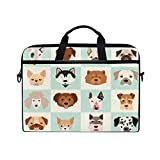HaJie - Funda para portátil con diseño de perros de dibujos animados para ordenador de 14-14,5 en bolsa de protección, maletín de viaje con correa para el hombro para hombres, mujeres, niños y niñas