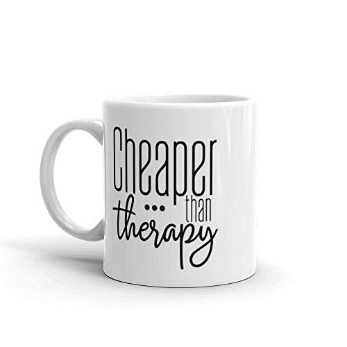 N\A Günstiger als Therapiebecher, Kaffee ist billiger als Therapie, lustiges Mitarbeitergeschenk, Muttertagsgeschenk, Kaffeeliebhabergeschenk, weiße Geschenkidee für Muttertag