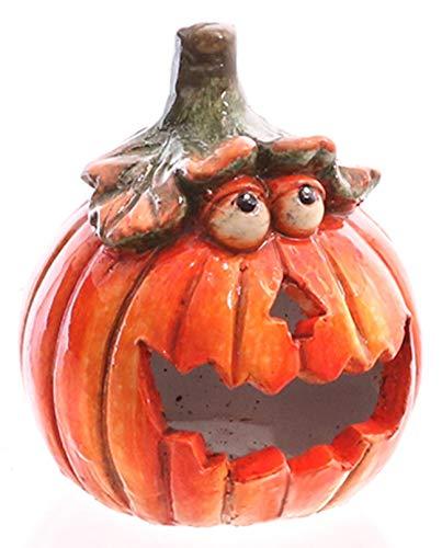dekojohnson Windlicht Kürbis Deko orange 13cm Kerzenhalter für innen Teelichthalter für außen Witzige Halloween-Dekoration