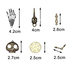 104g Assorted Antique Steampunk Gears Vintage Skeleton Charms Pendant Mixed for Necklace Bracelet Jewelry Making Accessory(Bronze and Silver Mixed Color) #4