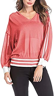 LICHONGGUI Long-Sleeved Loose Hooded Sweater 2020 hot Tops (Color : Red, Size : XL)