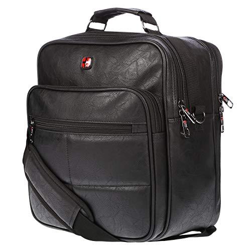 Christian Wippermann Flugbegleiter Umhängetasche Tasche Arbeitstasche Herrentasche Leder Optik Quer oder Hochformat Schwarz