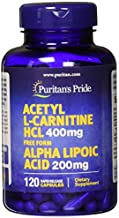 Puritans Pride Acetyl L-carnitine 400 Mg with Alpha Lipoic Acid, 200 Mg, 120 Count