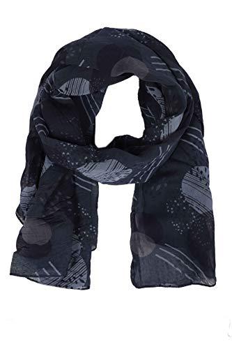 Zwillingsherz Seiden-Tuch im stilvollen Design - Hochwertiger Schal für Damen Mädchen - Halstuch - Umschlagstuch – Pashmina - Loop - weicher Schlauchschal für Frühjahr Sommer Herbst Winter - navy