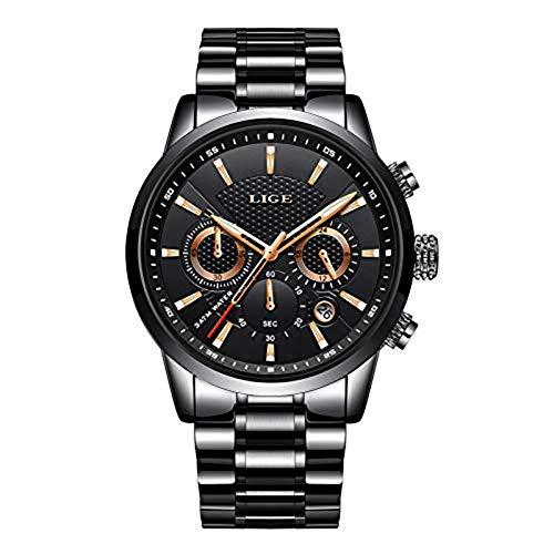 LIGE Watch Men Edelstah Chronograph Wasserdichtes Design Armbanduhren Großes Zifferblatt Elegant Classic Silver Sports Analog