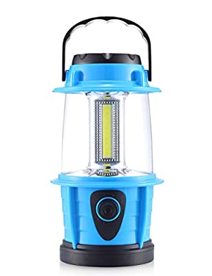E-TRENDS Portable LED Camping Lantern Flashlight - Dimmable - Survival Kit for Emergency, Power Outage, Hurricane, Battery Powered, Blue
