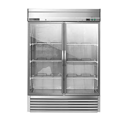 Maxx Cold MXSR-49GD Two 2 Glass Door Reach-In Upright Commercial NSF Refrigerator Cooler - ENERGY STAR