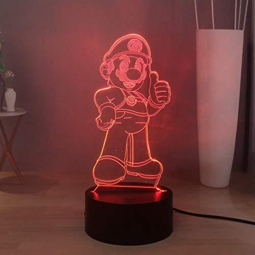 Super Mario - Lámpara de escritorio LED 3D para niños, 16 colores
