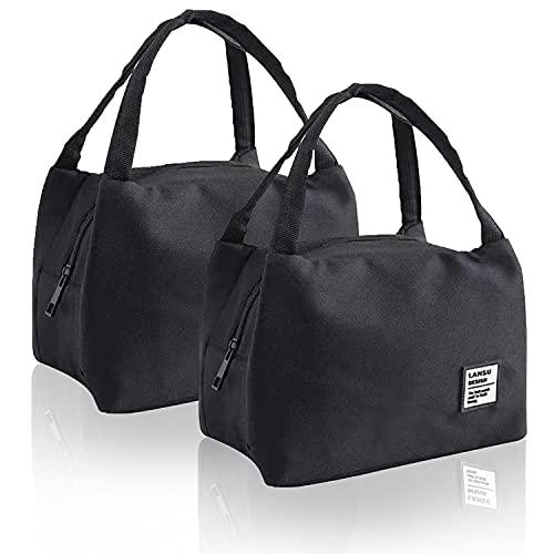2 Stk Kühltasche Klein Leicht Lunchtasche Wasserdicht Isoliertasche Faltbar Mittagessen Tasche Picknicktasche Lunch Bag Thermotasche ReißverschlussSchwarz für Arbeit Schule Picknick und Unterwegs