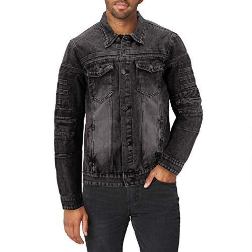 vkwear Men's Moto Quilted Cotton Blend Faded Denim Button Up Jean Jacket Slim Fit (L, Black)