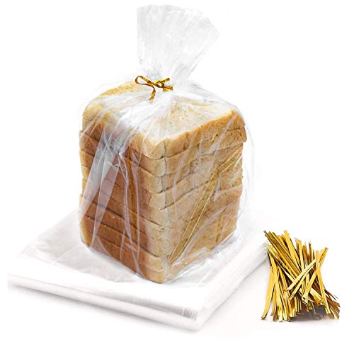 Bread Bag for Homemade Bread - 100 Pack Reusable Large Plastic Bread Bags with 100 Ties For An Airtight Moisture-free Preservation for Home Bakers and Bakery Owners