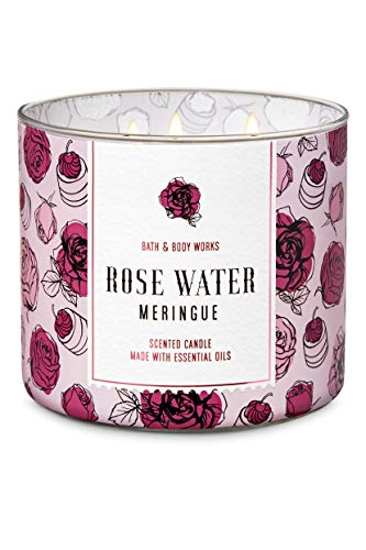 White Barn Bath and Body Works Rose Water & Ivy 3 Wick Scented Candle 14.5 Ounce Floral Design