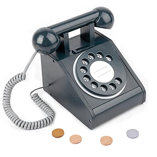 ampusanal Juguete De Teléfono Playhouse Dial Teléfono con Esfera Antigua De Madera Teléfono De Simulación Interactivo Marque El Juguete del Teléfono Juguete De Teléfono Play House para Niños Brightly