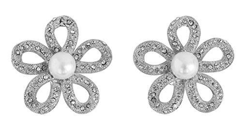 Touchstone de la India de Bollywood fantástico floral franjas blancas del Rhinestone de imitación perlas joyería del diseñador grande del tono Pendientes de oro para las mujeres.
