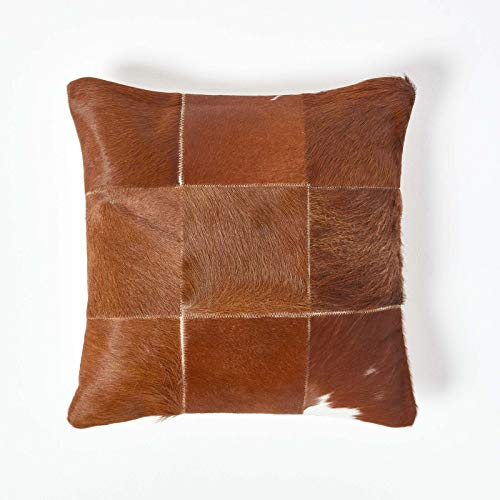 HOMESCAPES Recycled Leather and Goat Hair Cushion with Feather Insert 45 x 45 cm Square - 18 x 18 Inches - Tan Brown Large Check Pattern Alpine Style Sofa Cushion