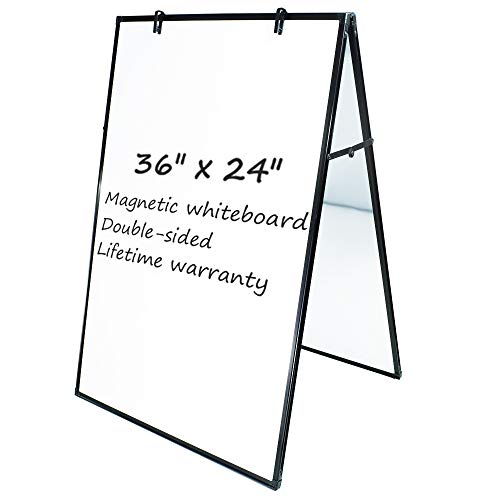 JILoffice Dry Erase Board, Magnetic White Board 36 X 24 Inch, Double Sided Whiteboard Easel, Black Aluminum Frame with Two Flipchart Hooks for Office Home and School